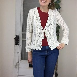 Anthro Knitted & Knotted Crochet Open Knit Cardi S